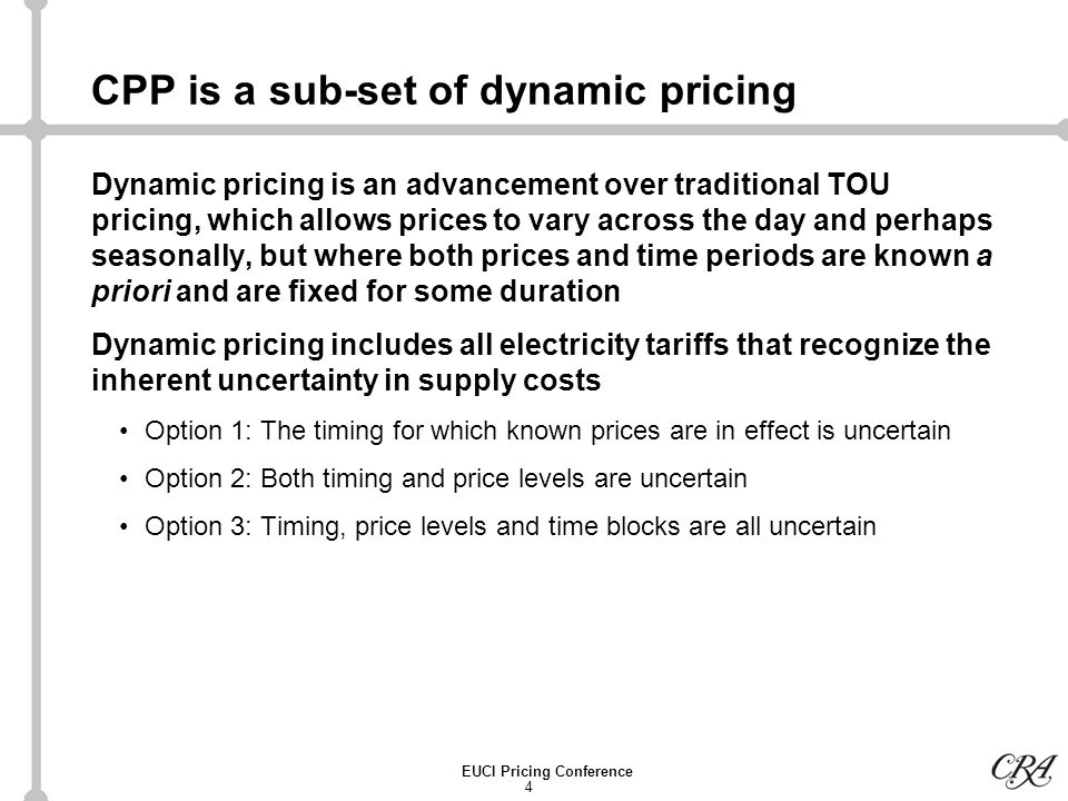 35 EUCI Pricing Conference Bibliography (continued) Ahmad Faruqui and Kelly Eakin (editors), Electricity Pricing in Transition, Kluwer Academic Publishers, 2002.
