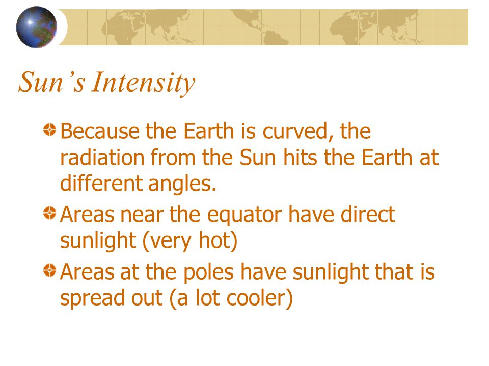 Suns Intensity Because the Earth is curved, the radiation from the Sun hits the Earth at different angles. Areas near the equator have direct sunlight