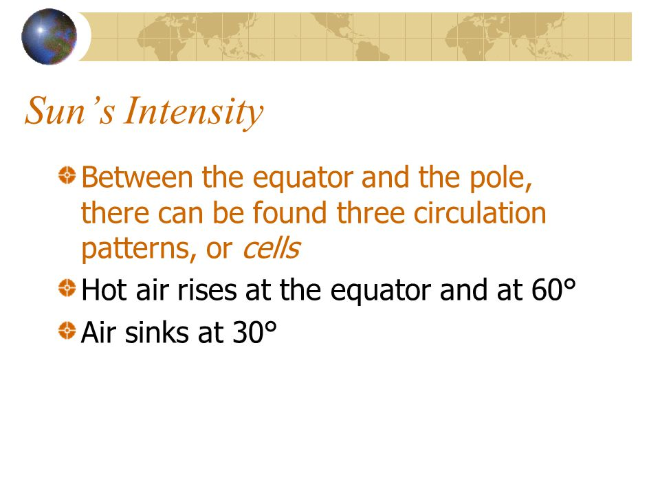 Suns Intensity Between the equator and the pole, there can be found three circulation patterns, or cells Hot air rises at the equator and at 60° Air s