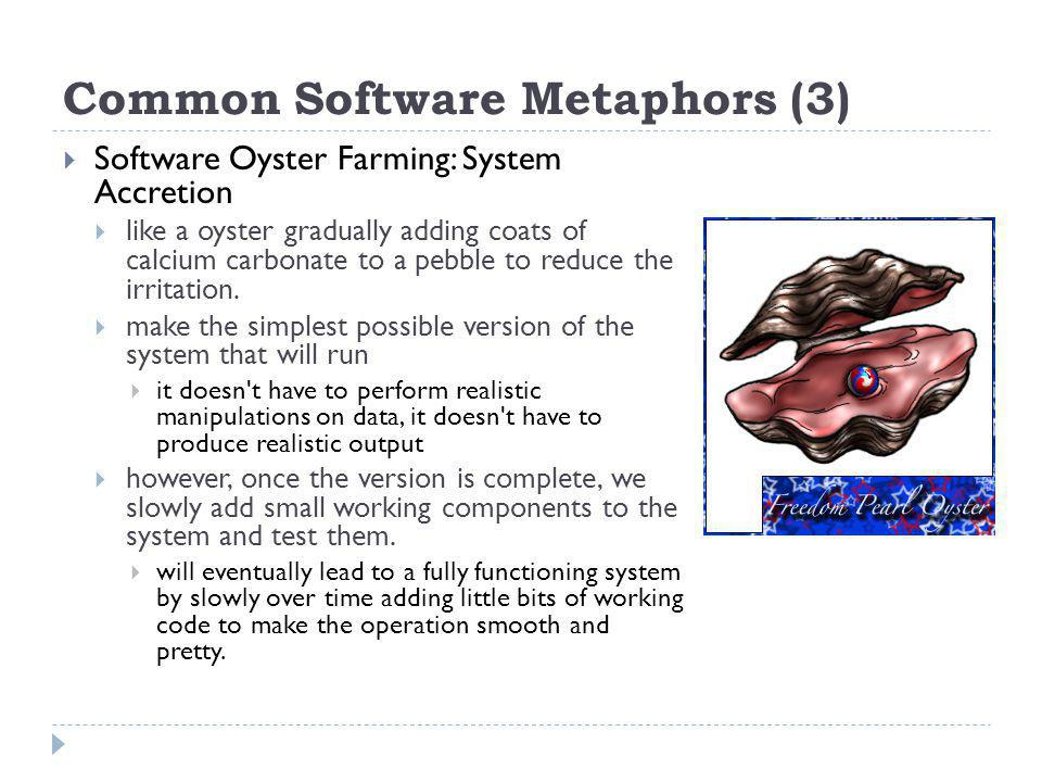 Common Software Metaphors (3) Software Oyster Farming: System Accretion like a oyster gradually adding coats of calcium carbonate to a pebble to reduce the irritation.