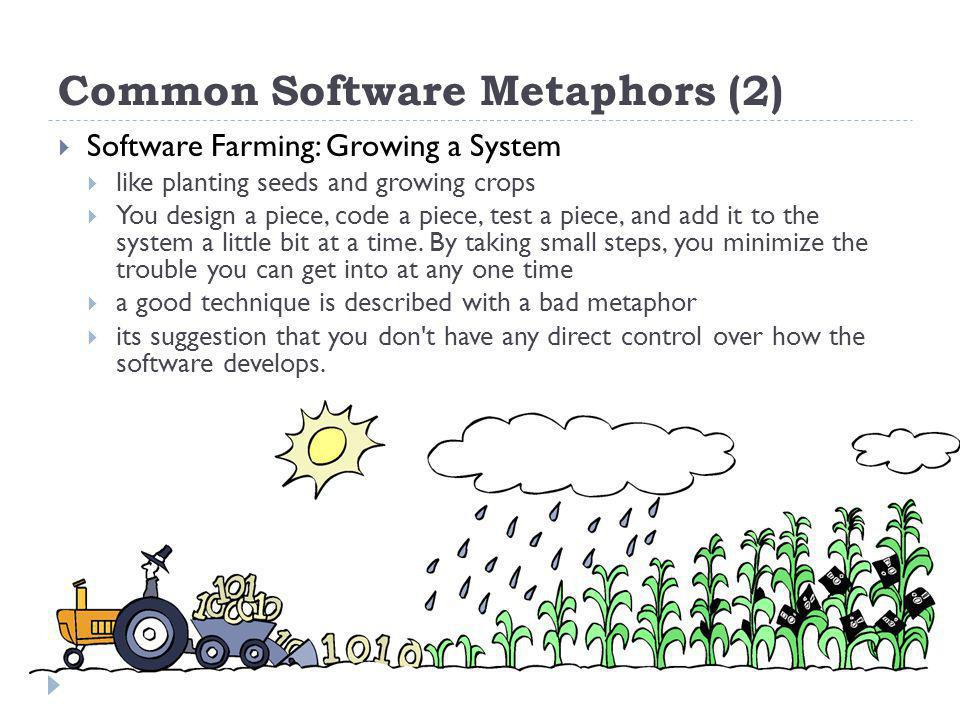 Common Software Metaphors (2) Software Farming: Growing a System like planting seeds and growing crops You design a piece, code a piece, test a piece, and add it to the system a little bit at a time.