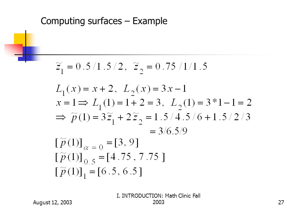 August 12, 2003 I. INTRODUCTION: Math Clinic Fall 200327 Computing surfaces – Example