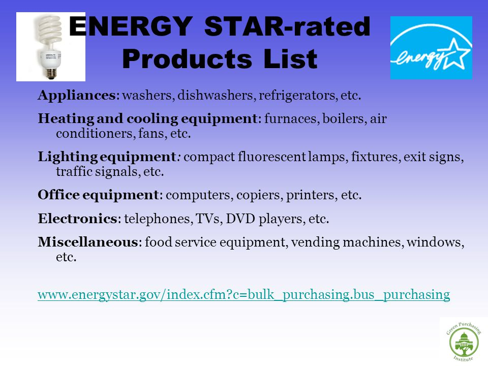 ENERGY STAR-rated Products List Appliances: washers, dishwashers, refrigerators, etc.