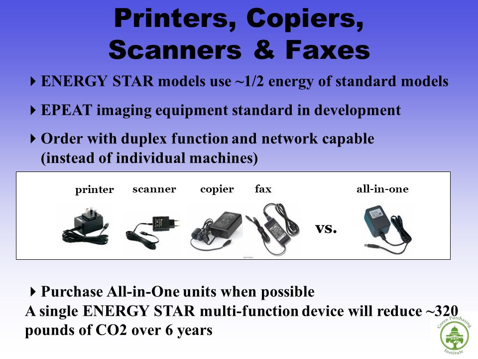 Printers, Copiers, Scanners & Faxes ENERGY STAR models use ~1/2 energy of standard models EPEAT imaging equipment standard in development Order with duplex function and network capable (instead of individual machines) Purchase All-in-One units when possible A single ENERGY STAR multi-function device will reduce ~320 pounds of CO2 over 6 years vs.