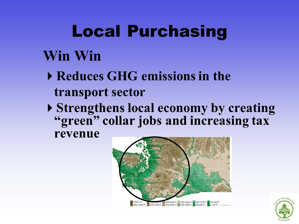 Local Purchasing Win Reduces GHG emissions in the transport sector Strengthens local economy by creating green collar jobs and increasing tax revenue