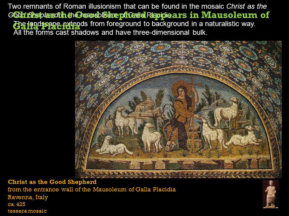 Christ as the Good Shepherd from the entrance wall of the Mausoleum of Galla Placidia Ravenna, Italy ca.