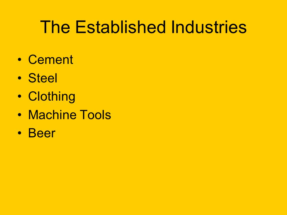 The Established Industries Cement Steel Clothing Machine Tools Beer