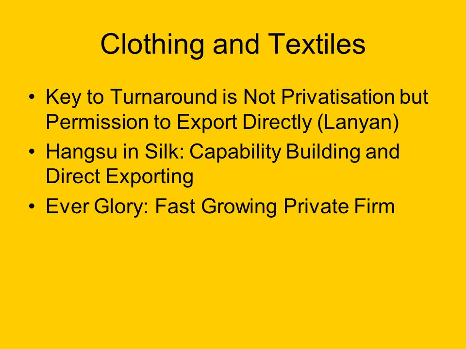 Clothing and Textiles Key to Turnaround is Not Privatisation but Permission to Export Directly (Lanyan) Hangsu in Silk: Capability Building and Direct