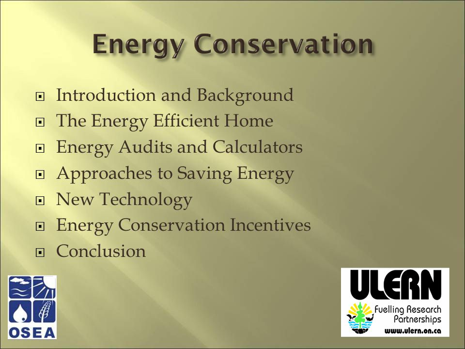 Introduction and Background The Energy Efficient Home Energy Audits and Calculators Approaches to Saving Energy New Technology Energy Conservation Incentives Conclusion