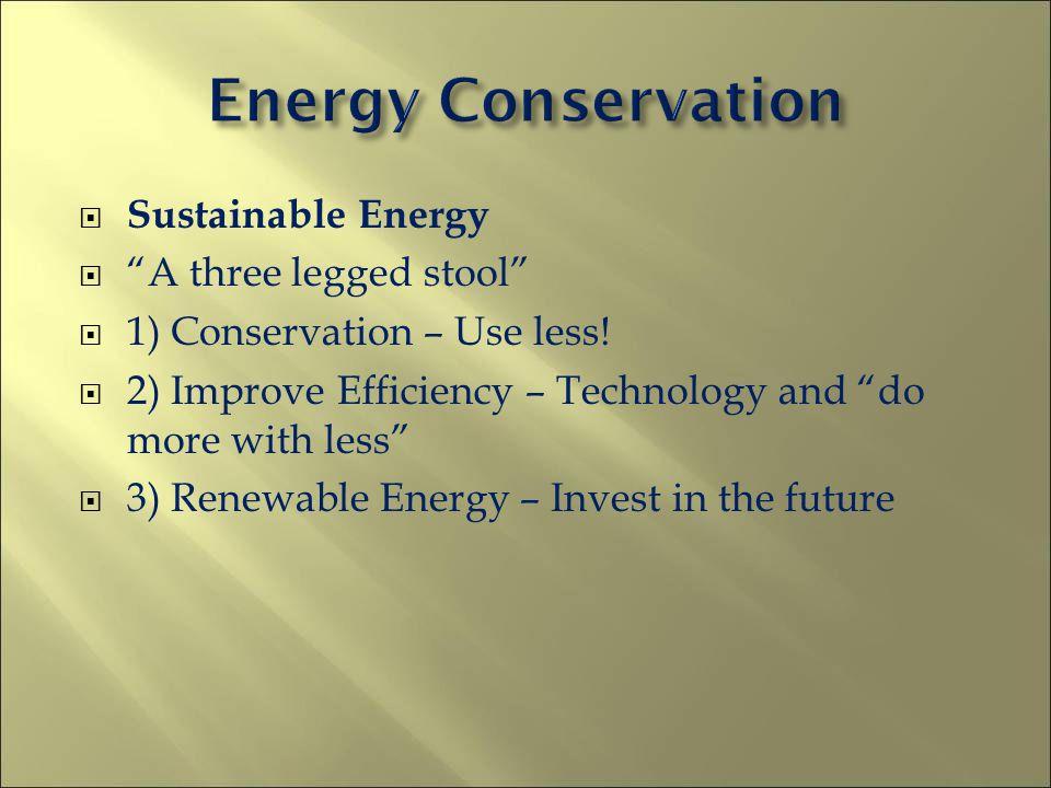 Sustainable Energy A three legged stool 1) Conservation – Use less.