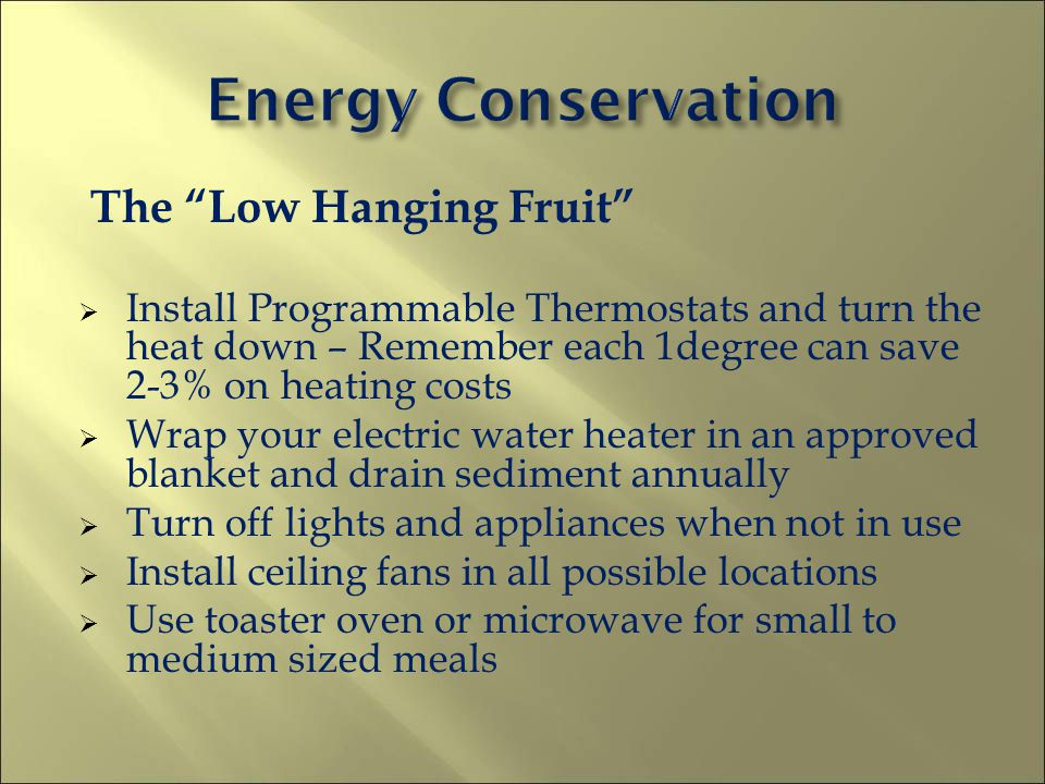 The Low Hanging Fruit Install Programmable Thermostats and turn the heat down – Remember each 1degree can save 2-3% on heating costs Wrap your electri