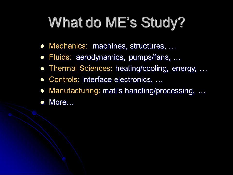 What do MEs Study? machines, structures, … Mechanics: machines, structures, … aerodynamics, pumps/fans, … Fluids: aerodynamics, pumps/fans, … heating/