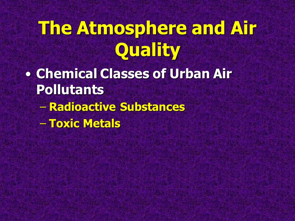 The Atmosphere and Air Quality Chemical Classes of Urban Air PollutantsChemical Classes of Urban Air Pollutants –Radioactive Substances –Toxic Metals