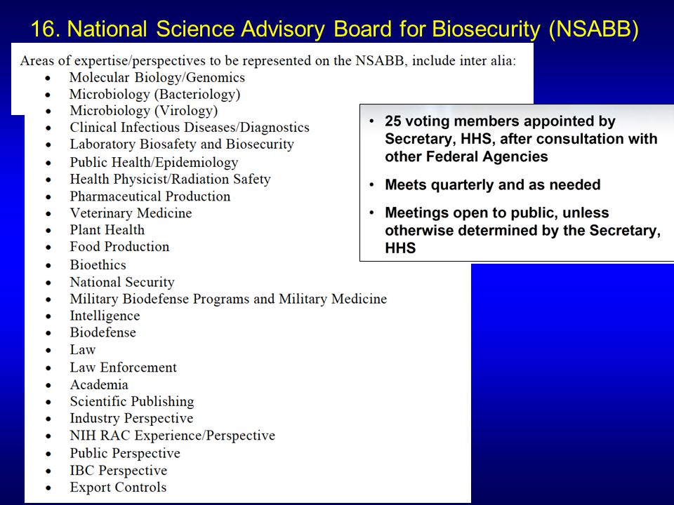 16. National Science Advisory Board for Biosecurity (NSABB)