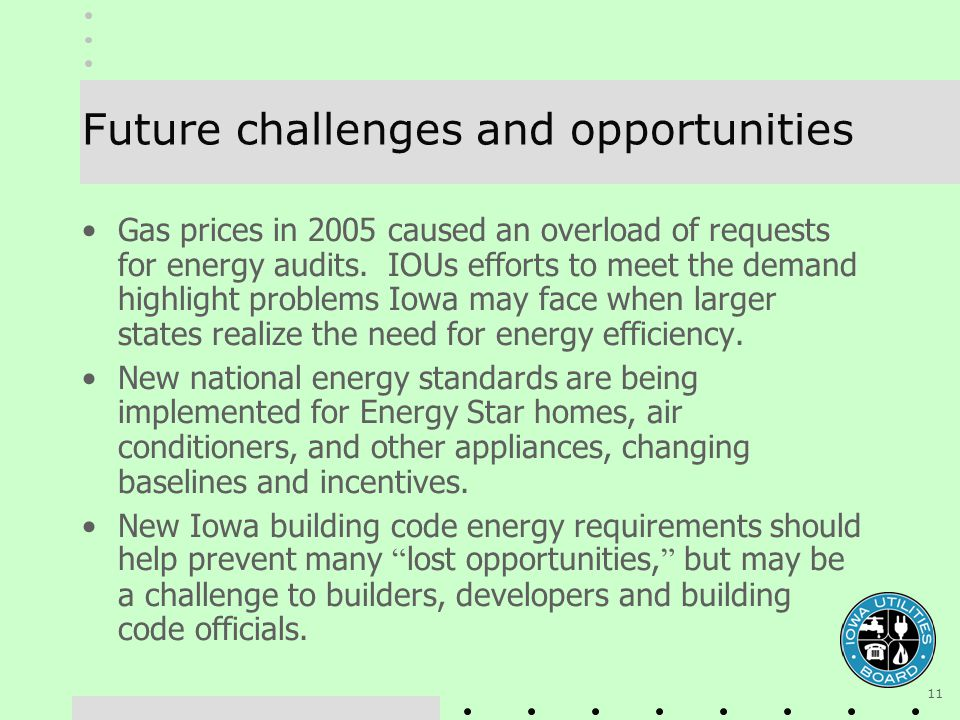 11 Future challenges and opportunities Gas prices in 2005 caused an overload of requests for energy audits. IOUs efforts to meet the demand highlight