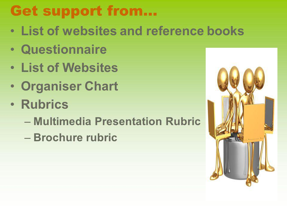 Get support from… List of websites and reference books Questionnaire List of Websites Organiser Chart Rubrics –Multimedia Presentation Rubric –Brochur