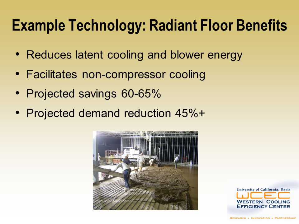 Example Thermal Storage Technology Residential/Commercial Swimming Pools Night-time cooling (non-refrigerative) makes pool water available for day-time low-temperature heat rejection 20-40 o F reduction in refrigerant condensing temperature 20-50% improvement in EER – higher at peak conditions Rejected heat serves useful function Eliminates/reduces gas consumption for pool heating