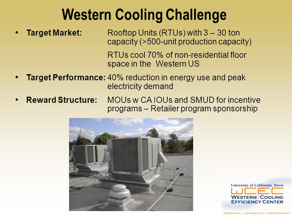Western Cooling Challenge: Schedule January 2009Laboratory testing of WCC entries can begin June 2009Field testing of WCC entries can begin January 2010Shipments of WCC-compliant products can begin