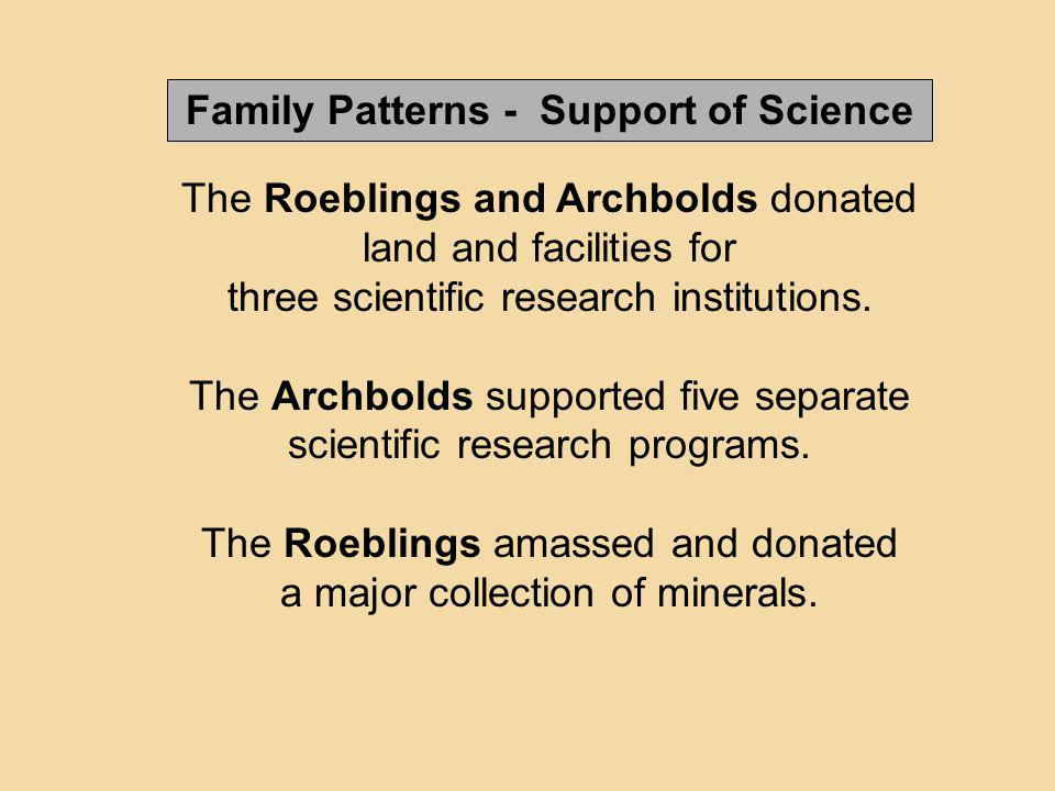 The Roeblings and Archbolds donated land and facilities for three scientific research institutions. The Archbolds supported five separate scientific r