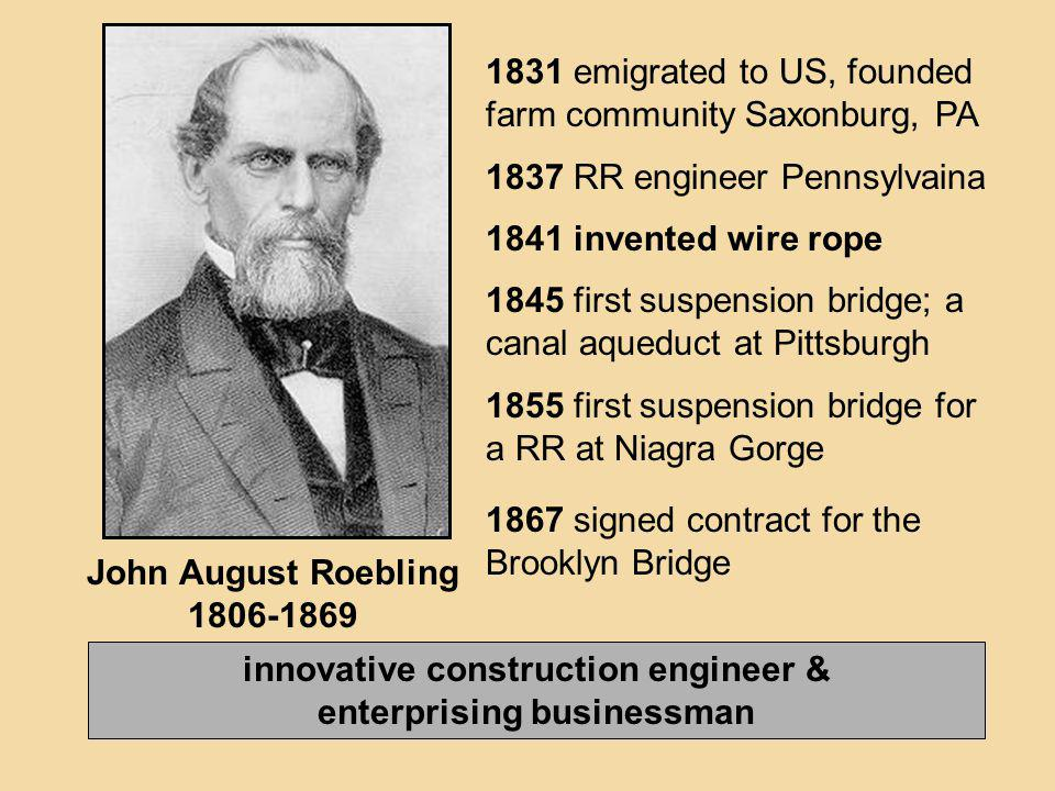 innovative construction engineer & enterprising businessman John August Roebling 1806-1869 1831 emigrated to US, founded farm community Saxonburg, PA
