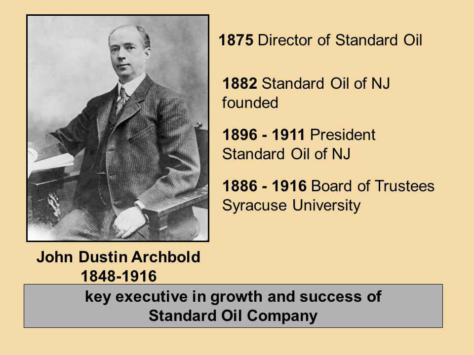 John Dustin Archbold 1848-1916 key executive in growth and success of Standard Oil Company 1875 Director of Standard Oil 1882 Standard Oil of NJ found