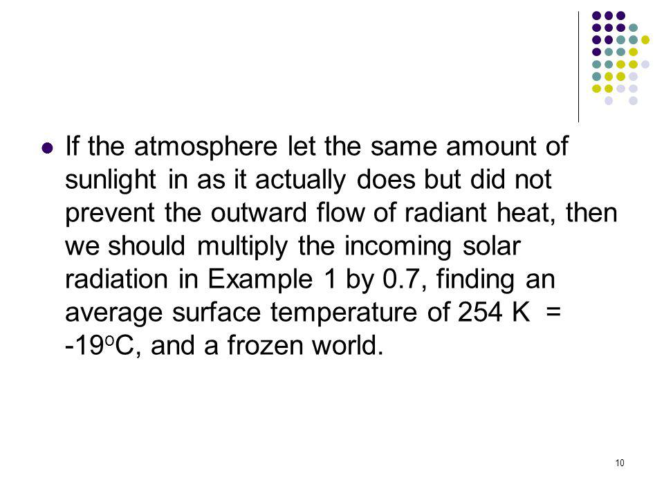 10 If the atmosphere let the same amount of sunlight in as it actually does but did not prevent the outward flow of radiant heat, then we should multi
