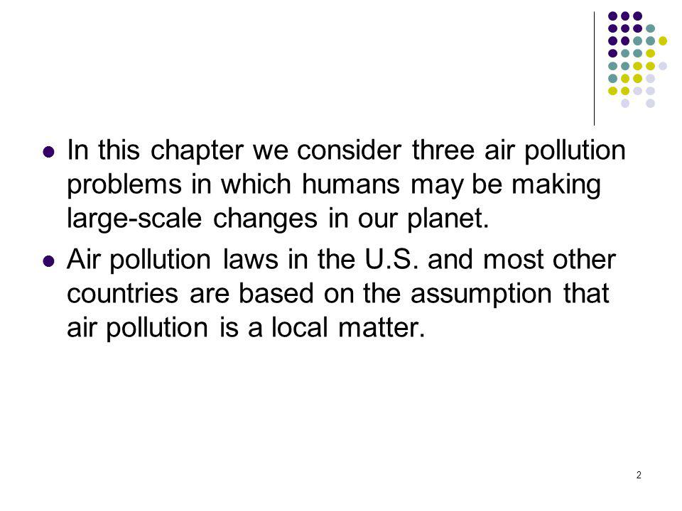 2 In this chapter we consider three air pollution problems in which humans may be making large-scale changes in our planet. Air pollution laws in the
