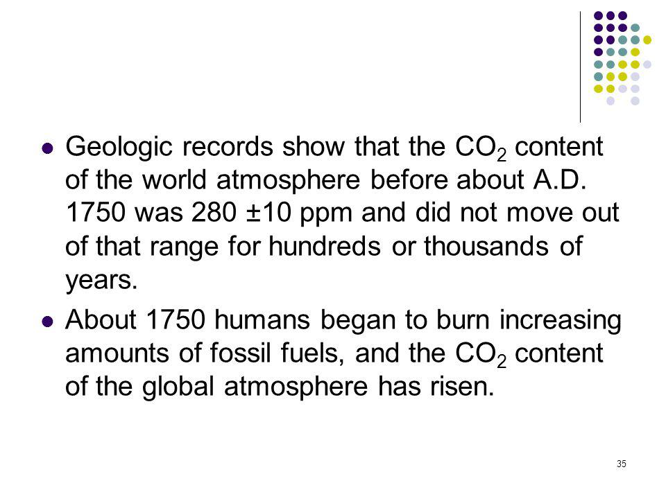 35 Geologic records show that the CO 2 content of the world atmosphere before about A.D. 1750 was 280 ±10 ppm and did not move out of that range for h