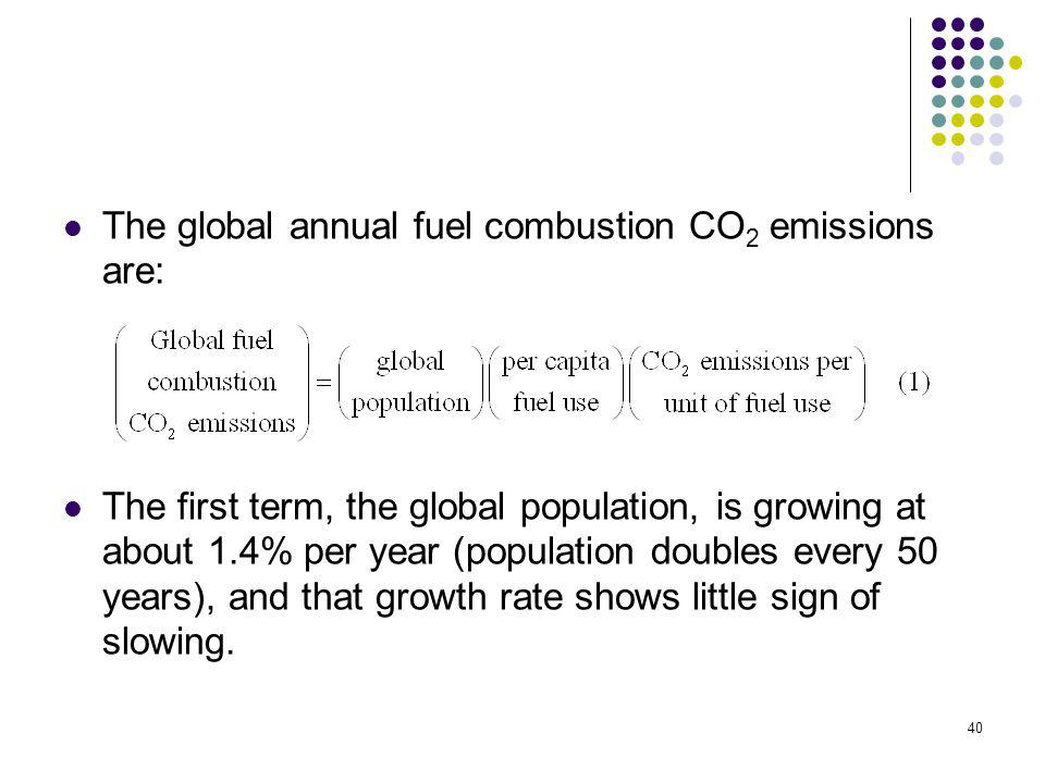 40 The global annual fuel combustion CO 2 emissions are: The first term, the global population, is growing at about 1.4% per year (population doubles