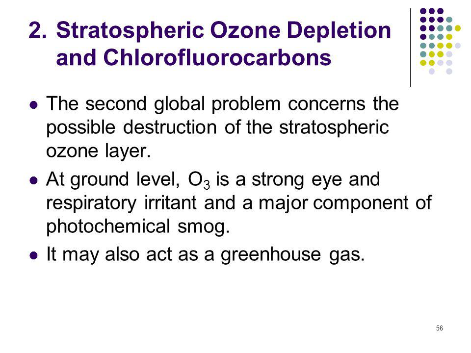 56 2.Stratospheric Ozone Depletion and Chlorofluorocarbons The second global problem concerns the possible destruction of the stratospheric ozone laye