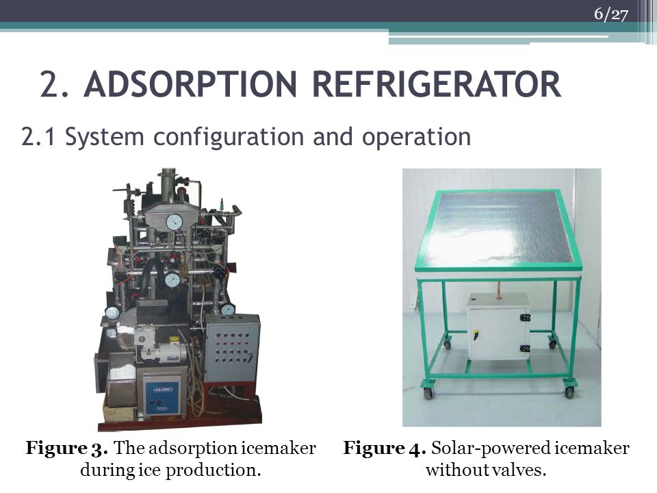 2. ADSORPTION REFRIGERATOR 6/27 2.1 System configuration and operation Figure 3. The adsorption icemaker during ice production. Figure 4. Solar-powere