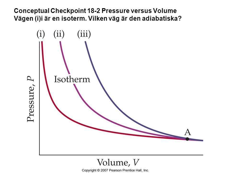Conceptual Checkpoint 18-2 Pressure versus Volume Vägen (i)i är en isoterm.