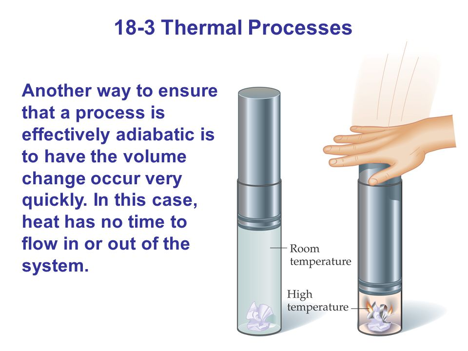 Another way to ensure that a process is effectively adiabatic is to have the volume change occur very quickly.