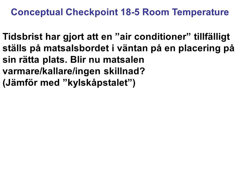 Conceptual Checkpoint 18-5 Room Temperature Tidsbrist har gjort att en air conditioner tillfälligt ställs på matsalsbordet i väntan på en placering på sin rätta plats.