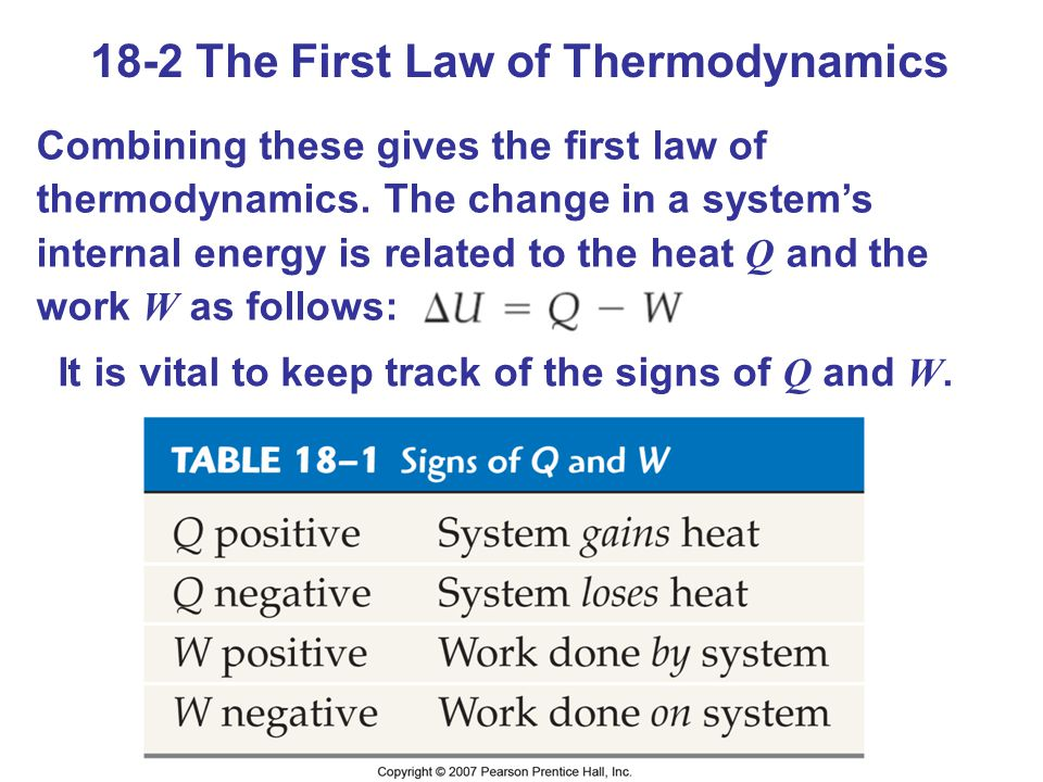 18-2 The First Law of Thermodynamics Combining these gives the first law of thermodynamics. The change in a systems internal energy is related to the