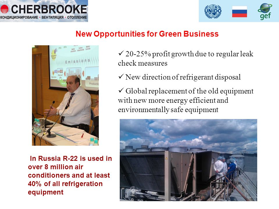 New Opportunities for Green Business 20-25% profit growth due to regular leak check measures New direction of refrigerant disposal Global replacement of the old equipment with new more energy efficient and environmentally safe equipment In Russia R-22 is used in over 8 million air conditioners and at least 40% of all refrigeration equipment