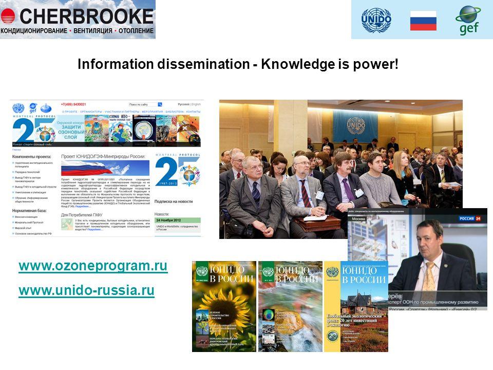 Information dissemination - Knowledge is power! www.ozoneprogram.ru www.unido-russia.ru