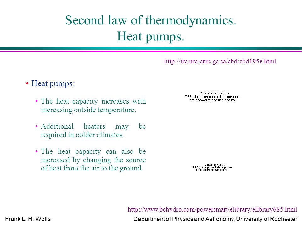 Frank L. H. WolfsDepartment of Physics and Astronomy, University of Rochester Second law of thermodynamics. Heat pumps. Heat pumps: The heat capacity