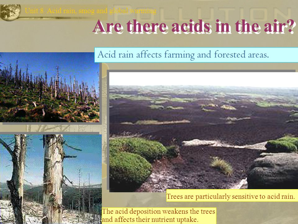Are there acids in the air? Unit 8 Acid rain, smog and global warming Acid rain affects industrial areas and the neighbouring regions around them. Bui