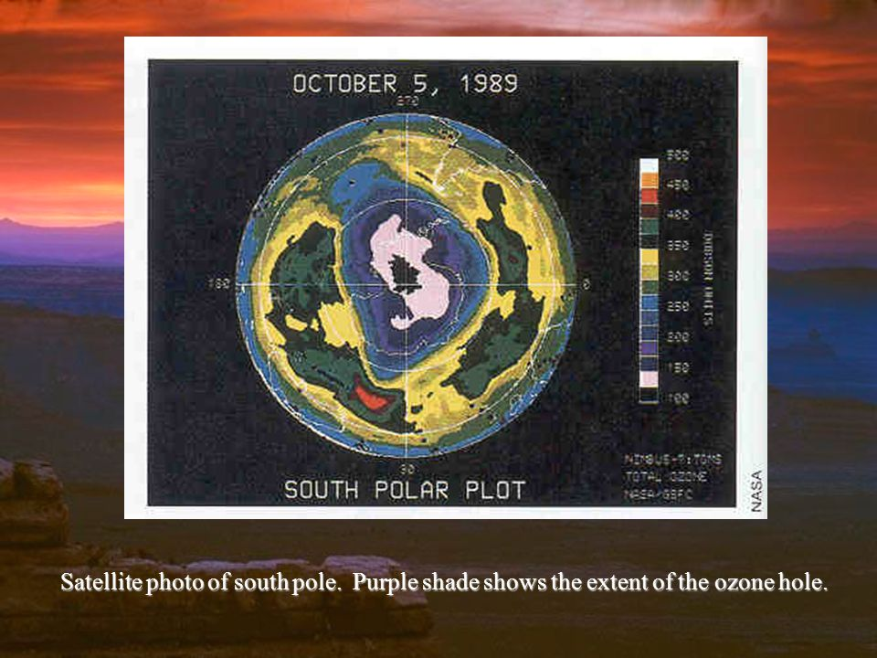 Satellite photo of south pole. Purple shade shows the extent of the ozone hole.