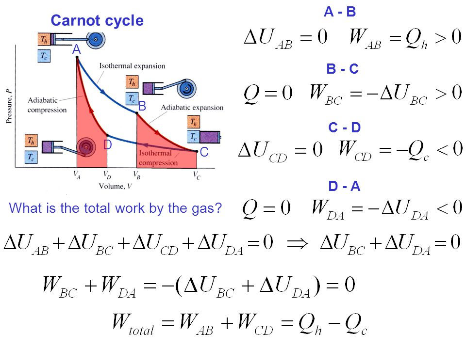 A B C D Carnot cycle A - B B - C C - D D - A What is the total work by the gas?