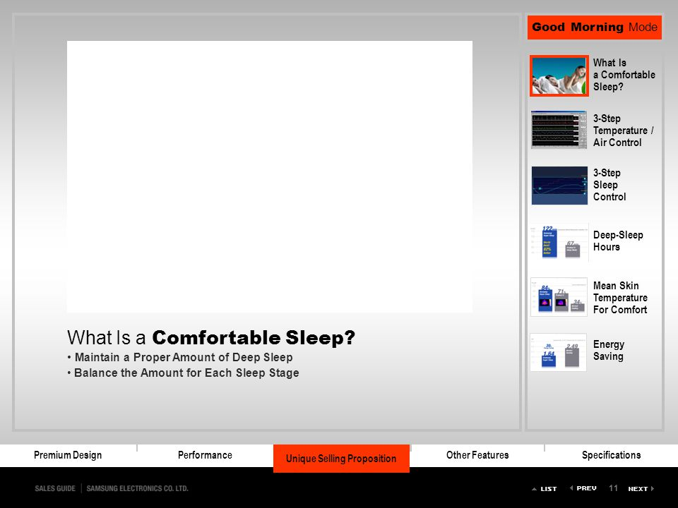 11 Premium DesignPerformanceSuper SleepOther FeaturesSpecifications Unique Selling Proposition Good Morning Mode What Is a Comfortable Sleep? 3-Step T