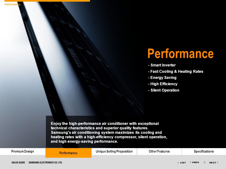 6 Premium DesignPerformanceUnique Selling PropositionOther FeaturesSpecifications Performance - Smart Inverter - Fast Cooling & Heating Rates - Energy