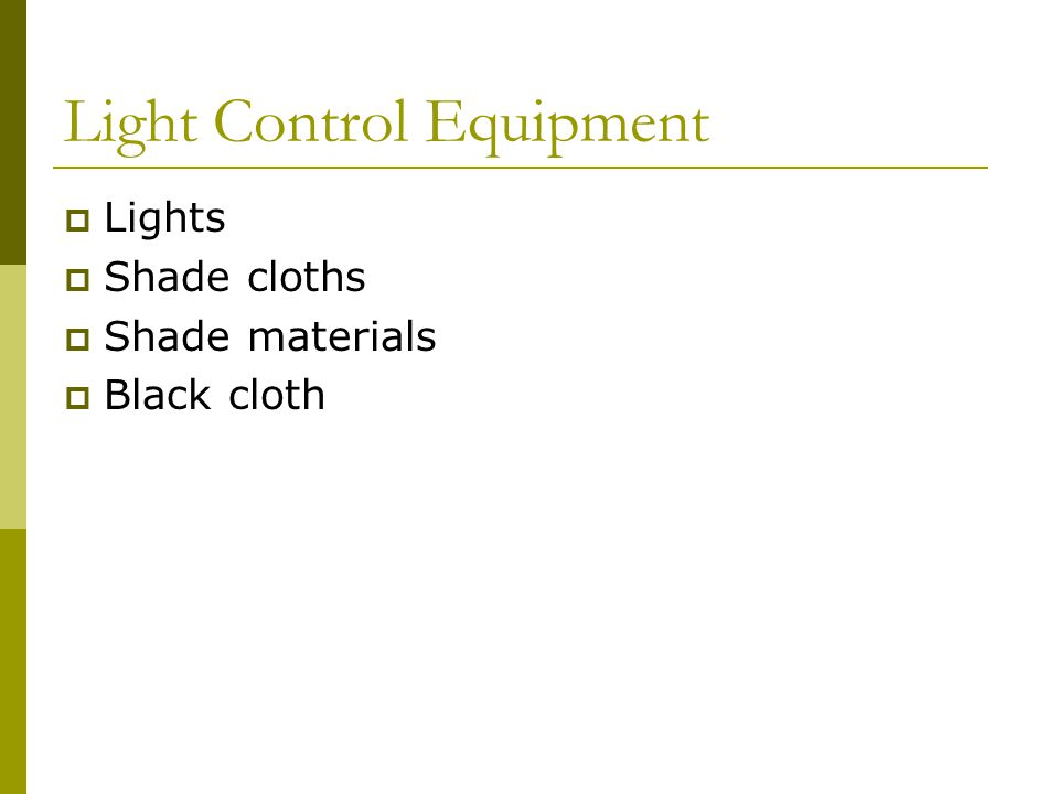 Light Control Equipment Lights Shade cloths Shade materials Black cloth