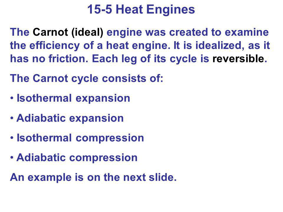 15-5 Heat Engines The Carnot (ideal) engine was created to examine the efficiency of a heat engine. It is idealized, as it has no friction. Each leg o