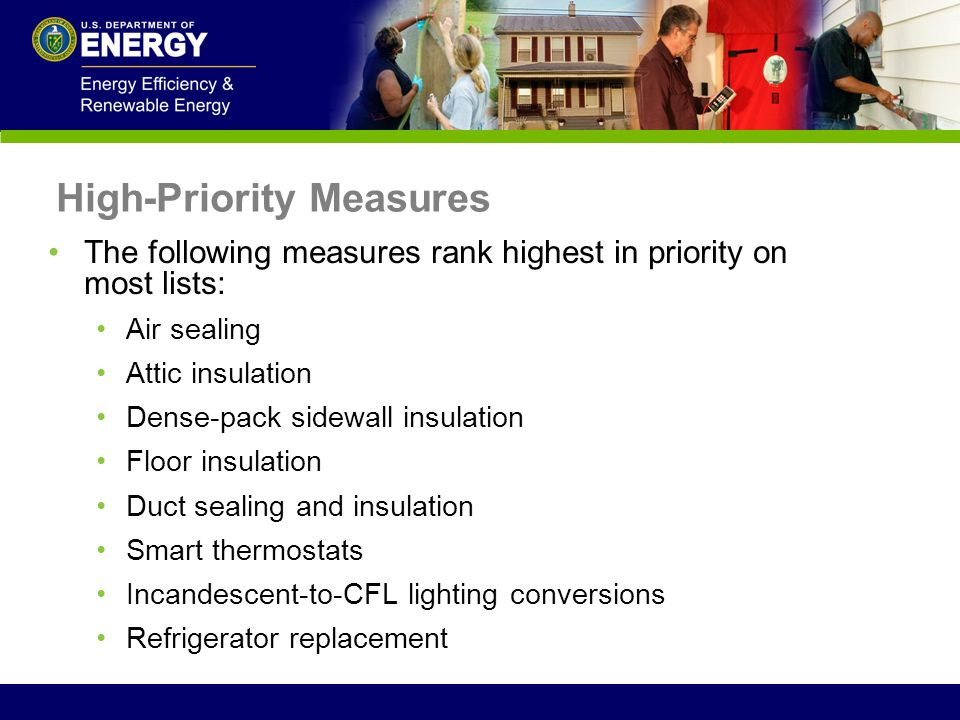 The following measures rank highest in priority on most lists: Air sealing Attic insulation Dense-pack sidewall insulation Floor insulation Duct seali