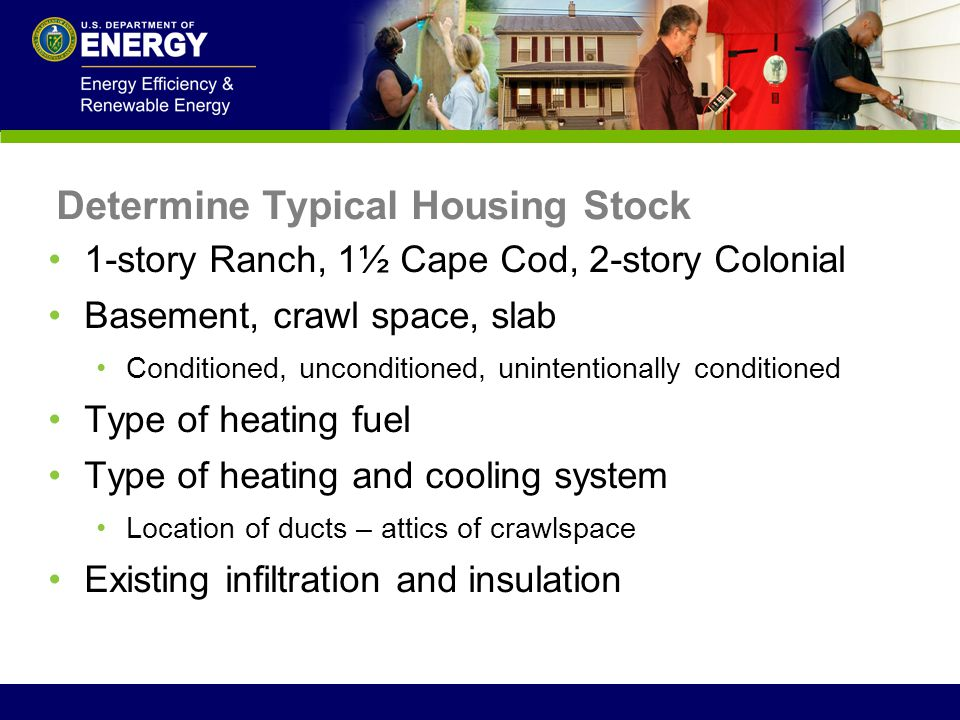 1-story Ranch, 1½ Cape Cod, 2-story Colonial Basement, crawl space, slab Conditioned, unconditioned, unintentionally conditioned Type of heating fuel