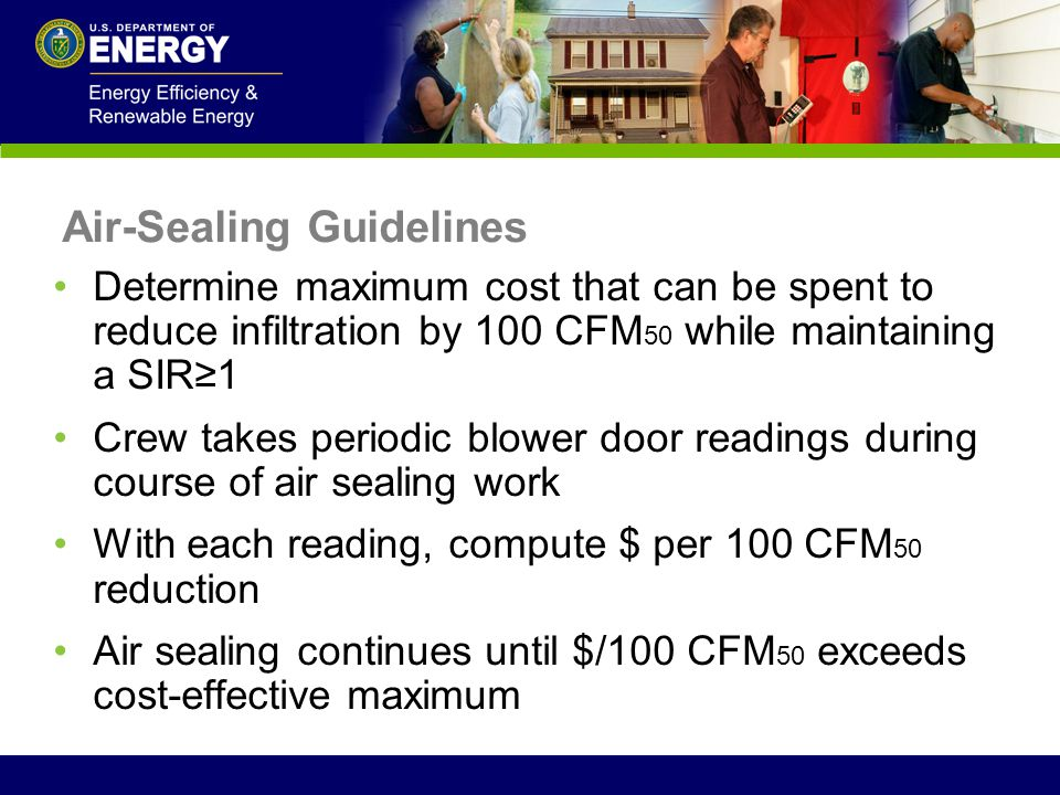 Air-Sealing Guidelines Determine maximum cost that can be spent to reduce infiltration by 100 CFM 50 while maintaining a SIR1 Crew takes periodic blow