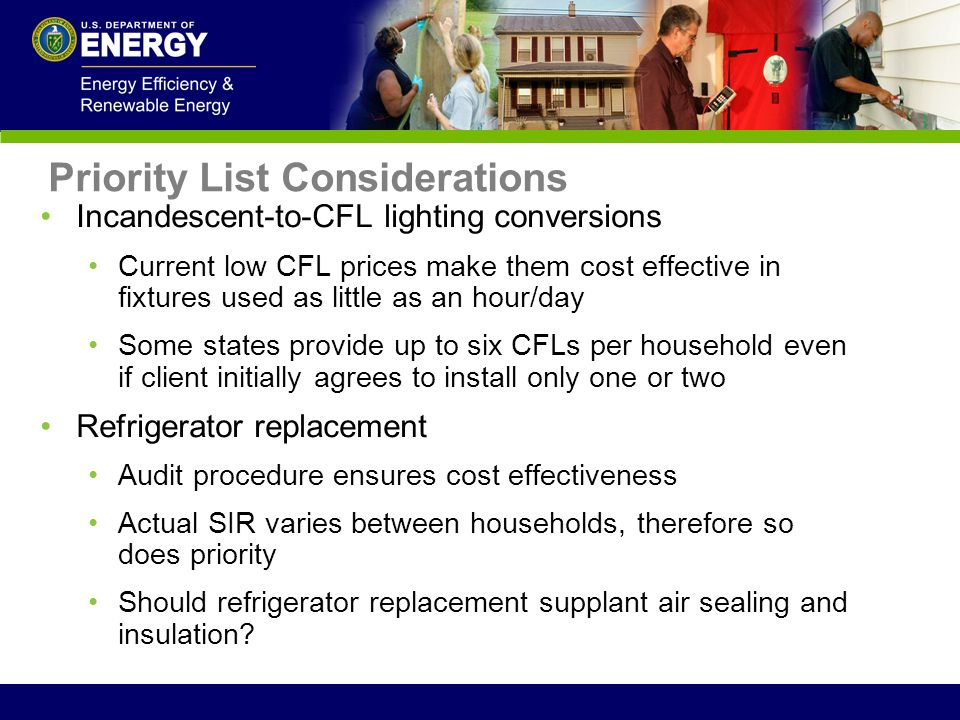 Incandescent-to-CFL lighting conversions Current low CFL prices make them cost effective in fixtures used as little as an hour/day Some states provide