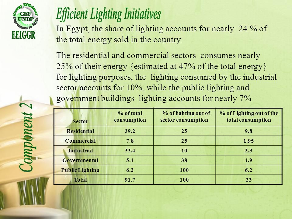 In Egypt, the share of lighting accounts for nearly 24 % of the total energy sold in the country. The residential and commercial sectors consumes near